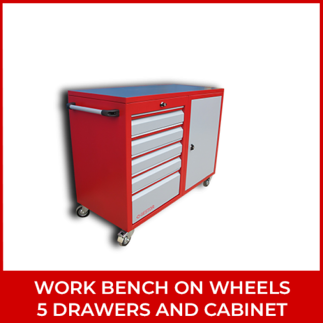 Work Bench on Wheels 5 Drawers and Cabinet