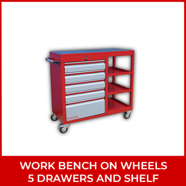 Work Bench on Wheels 5 Drawers and Shelf